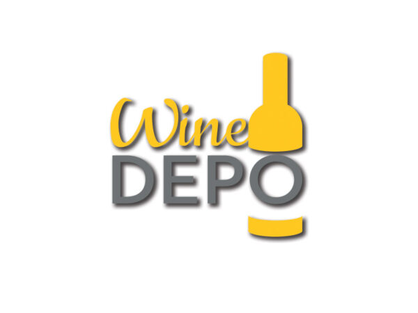 wine depo Logo mustard grey on white